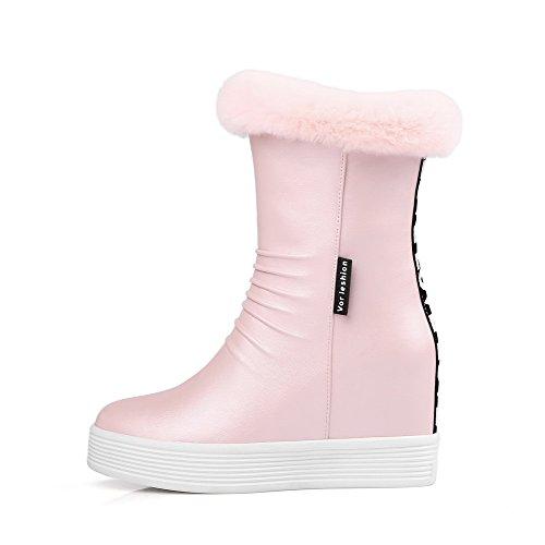 AllhqFashion Damen Rein PU Hoher Absatz Reißverschluss Schließen Zehe Stiefel, Pink, 31