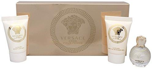 (Versace Eros Pour Femme 3 Pieces Travel Kit - Eau De Parfum, Shower Gel & Body)