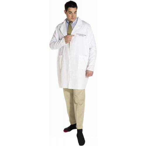 Halloween Bush Costume - Rasta Imposta Dr. Seymour Bush Lab coat, White, Standard