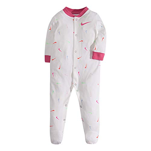 NIKE Children's Apparel Baby Graphic Footed Coverall, White Swoosfetti, 6M (Nike Girl Clothes Baby)