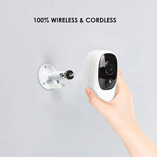 Wellwerks Wireless Outdoor Security Camera, Rechargeable Battery Powered WiFi Camera, 1080P Indoor Home Camera with Motion Detection, Night Vision, 2-Way Audio, Waterproof, Cloud Storage/SD Slot