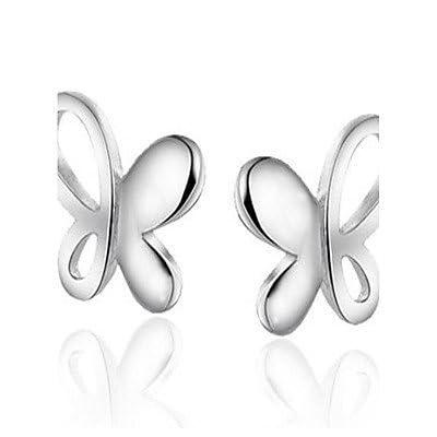 MJW&EH Femme Boucles d'oreille goujon Bijoux Mode Style Simple Argent sterling Papillon Bijoux Cadeau Sortie Bijoux de fantaisie