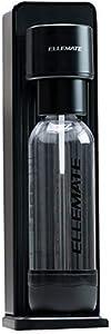 Ellemate Dynamic Cordless CO2 Carbonation Machine for Sparkling Water Fizzy Beverages with 1 Liter and 0.5 Liter Reusable Serving Bottles, Black