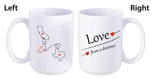 Love From A Distance California State, Texas State (CA - TX) - Mother's Day, Birthday, Anniversary Gift Ideas For Family, Him, Her. Two State Map Mug 15 oz