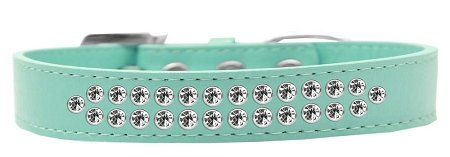 Mirage Pet Products Two Row Clear Crystal Aqua Dog Collar, Size 20 by Mirage Pet Products