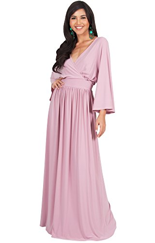 KOH KOH Plus Size Womens Long Kimono Sleeve With Sleeves Wrap Fall Winter Empire Waist Flowy Casual Formal Cute Maternity Robe Abaya Gowns Gown Maxi Dress Dresses, Dusty Pink 4 X 26-28 (3)