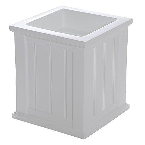 Square Outdoor Pot - Mayne 4837W Cod Planter, White, 16-Inch