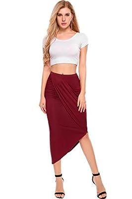 Zeagoo Women's High Waist Pleated Skirt Stretchy Irregular Slits Pencil Skirt