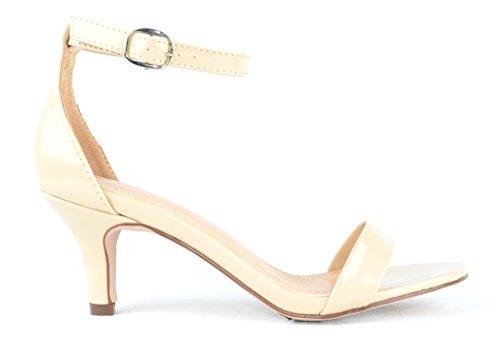 Chase & Chloe Kira-1 Sandalo Con Tacco Basso Con Cinturino Alla Caviglia Coperto Con Fibbia Nuda