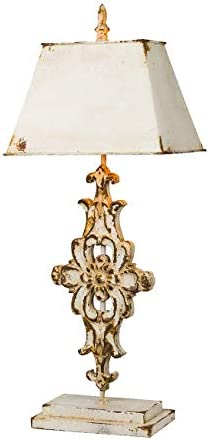 A&B Home Vintage Elegance Wood and Metal Table Lamp, Antique White
