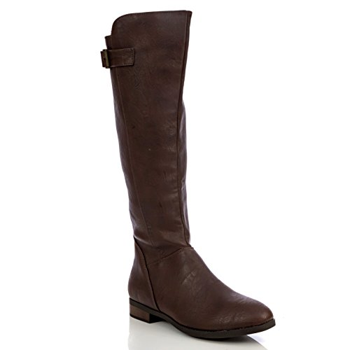 Zip Up Knee Boot - Charles Albert Womens Knee High Riding Boot in Brown Size: 6