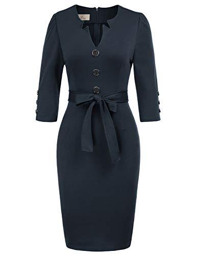 (GRACE KARIN Women Retro 3/4 Sleeve Work Office Business Pencil Dress with Belt XL Navy Blue)