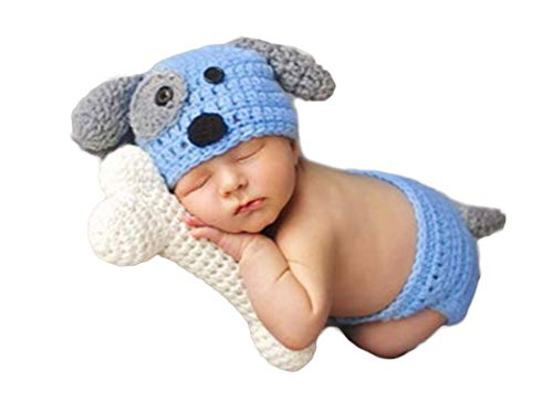 3PCS Infant Newborn Baby Boy Girl Crochet Costume Outfits Photography Props Dog Hat+Pant+Toy Bone 0-6 Months ()