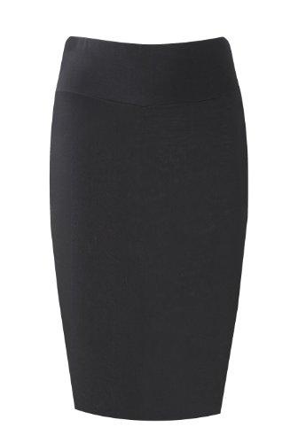 fourreau mi couleurs haute Femmes extensible longue jersey taille Noir tailles Jupe grandes toutes moulante gHwwq5E