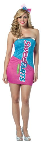 Tart Sweet Costume (Rasta Imposta Nestle Sweetarts Tube Dress, Pink/Blue, Adult)