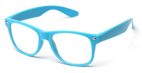 Newbee Fashion® - 80's Classic Blue Brothers Clear Lens Pastel/Neon Colored Wayfarer Styles Vintage Retro (Neon Blue Sunglasses)
