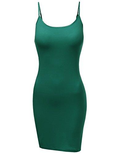 BA Women's Slim Fit Solid Spaghetti Strap Cami Slip Dresses JADE (Jade Satin Garter)