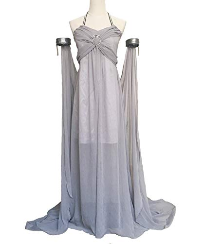 Xfang Women's Chiffon Dress Halloween Cosplay Costume Grey Long Train Dress (M)