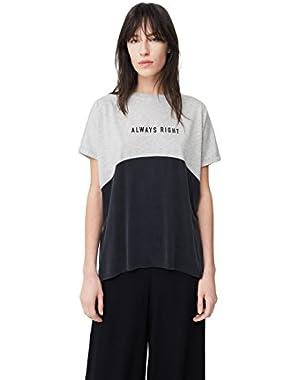 Mango Women's Contrast Cupro T-Shirt
