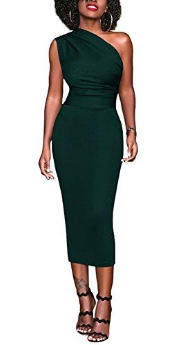 - Bluewolfsea Women Bodycon Party Dress One Shoulder Elegant Cocktail Evening Pencil Formal Dress Green M