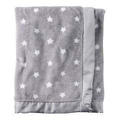 Carter's Grey White Star Plush baby blanket