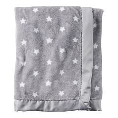 Carters Grey White Plush blanket