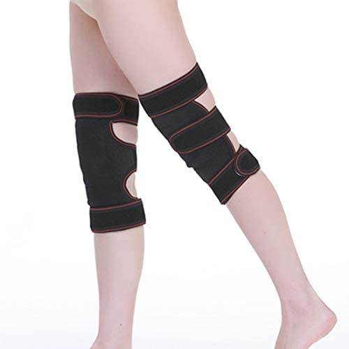 Schunyi スポーツ膝サポート袖パッドアップグレード版熱磁気療法暖かい膝パッドOK布膝パッドスポーツ健康タコ形状膝パッド (色 : 黒)