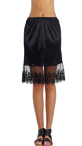 "Women Single lace Satin Underskirt Half Slip Skirt Extender - 21"" Length (Black, Medium)"