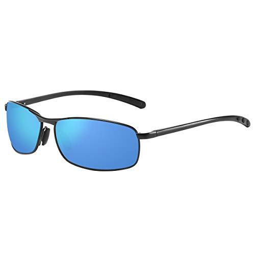 ZHILE Rectangular Polarized Sunglasses Al-Mg Alloy Temple Spring Hinge UV400 (Black, Blue ()