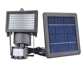 COCO Outdoor Solar Night Light Kit,60 LED 420 LM White Floodlights Spotlights Solar Panel Powered Motion Sense Light Control Lamp Waterproof Dusk to Dawn 8 Hours for Garden Patio Deck Yard Path Pool