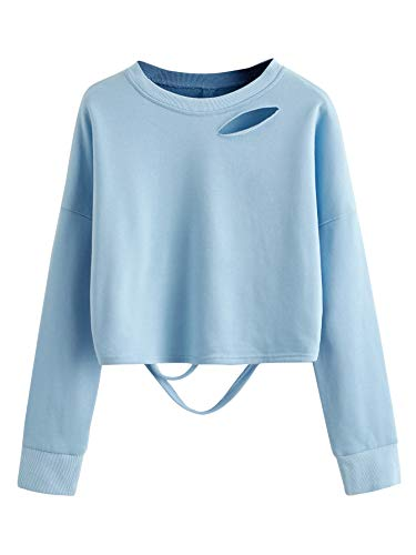 SweatyRocks Women's Long Sleeve Crop Tops Distressed Ripped Cut Out Pullover Sweatshirt