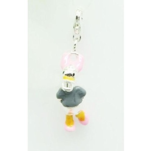 Enameled Duck Charm (1 pcs Daisy Duck 3D Enameled Silver Plated Clip-On Dangle Charm)