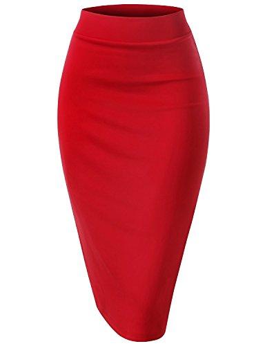 Regna X Womens High Waist Daily Elegance Red 2X Plus Size Pencil Back Slit Midi Skirt