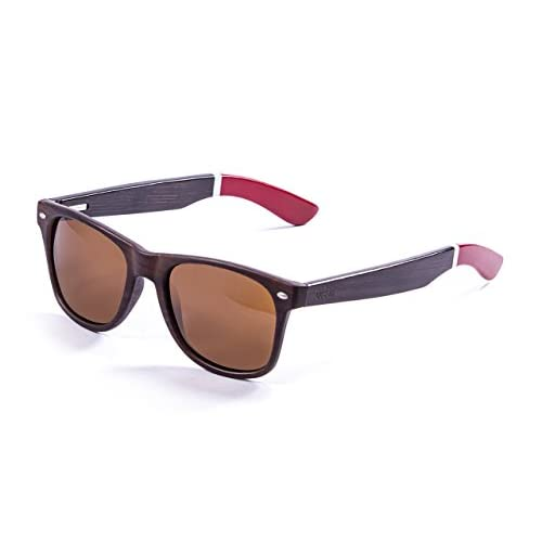 Ocean Sunglasses Beach Lunettes de Soleil Mixte Adulte, Bambo Dark Frame/Wood Dark White/Red Arms/Brown Lens