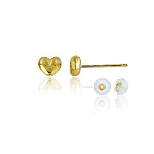 14K Yellow Gold 4.50mm Polished Puff Heart Stud Earrings