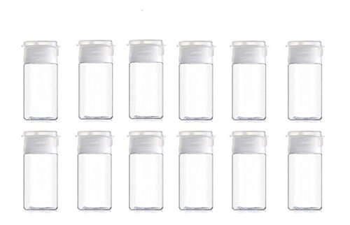 Onwon Travel Size Plastic Empty Squeeze Bottles, 12 Pcs 15ml/0.5oz Empty Plastic Sample Bottle Container Jar Pot Vial with Flip Lid Perfect for Emollient Water Shower Gel Emulsion Etc, Used ()