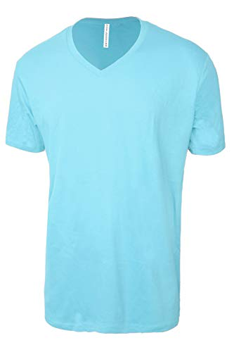 TL Men Casual Basic Short Sleeve Tri-Blend / 100% Cotton V-Neck T Shirt RVNECK Pacific_Blue 2XL