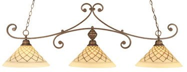 3-Light Curl Bar Lights w 16 in. Chocolate Icing Glass Shades