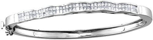 Jewels By Lux 14kt White Gold Womens Princess Diamond Double Row Wave Bangle Bracelet 2.00 Cttw (I1-I2 clarity; H-I color) (Wave Gold White Bracelet)