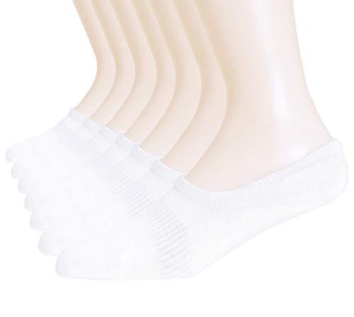 WANDER No Show Socks Women Flats Womens Bombas Low Cut Invisible (7 White,Sock Size 6-10)