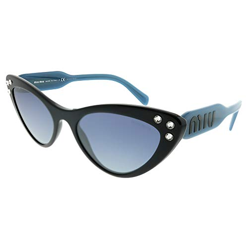 Miu Miu Women's Crystals Cat Eye Sunglasses, Black/Blue Mirror, One ()