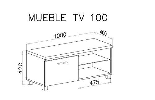 Comfort Home Innovation– Meuble Bas TV LED, Salon-Séjour, Blanc Mate et Blanc Laqué, Dimensions: 100 x 40 x 42 cm de…