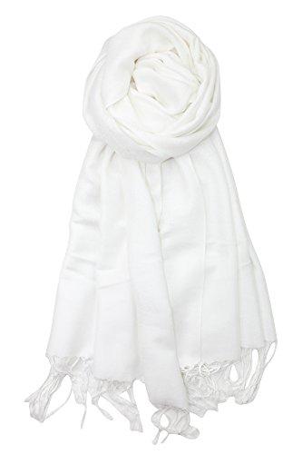 Achillea Two Tone Vintage Jacquard Paisley Pashmina Shawl Wrap Scarf (White)