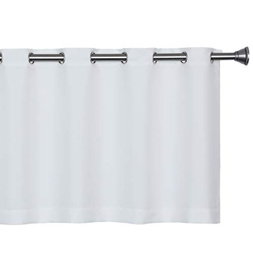 Wemay Fashion Solid Color Valance, Café Curtain 60-Inch x 24-Inch, WHITE