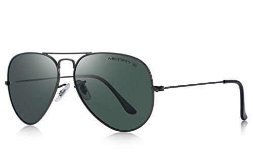 MERRY'S Classic Men/Women Pilot Polarized Sunglasses 58mm S8025 (Gray&G15, 58) (Shade Gray Pilot)