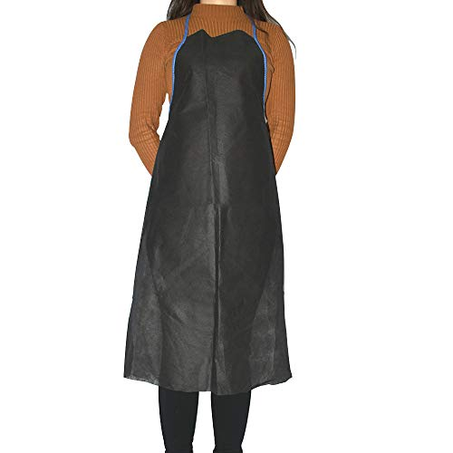 OKEKON Disposable Economical Non-woven Apron Fabric Polypropylene Thickness Bibs/Keep Clothing Clean/Great for Food Industry, Cooking, Painting, Dish washing,Picnic Party Aprons Lightweight 10PcsBlack