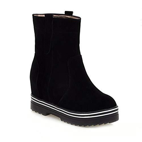 Women's Wedge Platform Martin Ankle Boots Close Toe Slip On Fur Hidden Heel Boot Casual Short Bootie -