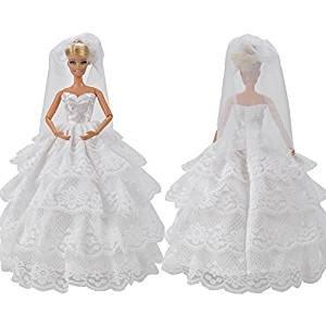 Barbie Vestido de novia blanco con detalles de encaje completo con velo ajuste a la muñeca