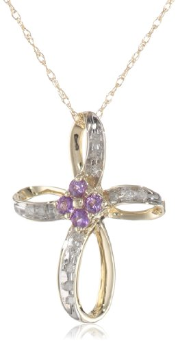 10k Yellow Gold  Amethyst and Diamond Cross Pendant (1/10 cttw, I-J Color, I3 Clarity), 18""