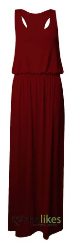 Womens Maxi Dress Ladies Jersey Toga Maxi Racer Back Long Vest Maxi Dress Skirt UK 8-10 / AUS 8-10 / US 4-6 (Toga For Women)